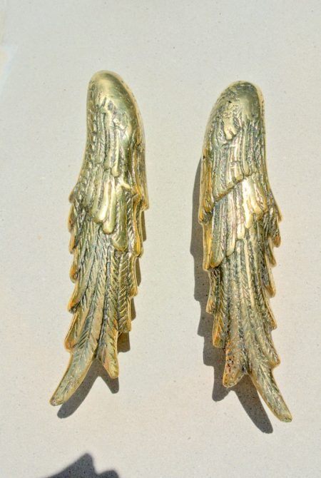 """2 small ANGEL WING hollow solid brass door PULL old style polished house PULL handle 20 cm wings 8"""" long"""