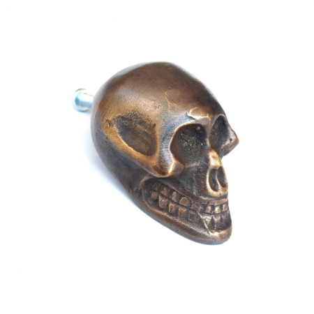 """small Skull Drawer 2 cm Gothic Finger Pull Solid Brass 1.3/4"""" solid heavy brass old style screws antiques hand made cabinet kitchen knob"""