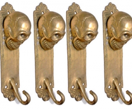 "4 small SKULL HOOKS small spine pure solid BRASS old vintage style antique aged over brass 5 "" long Bronze patina (Copy)"
