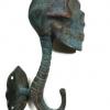"""4 medium antique green SKULL HOOKS BRASS old vintage style vintage 5"""" long spine B (Copy)"""