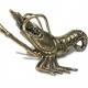 "PRAWN statue decor solid brass hollow 8 "" long heavy aged old look 21cm polished brass hand made cast"
