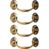 """4 small aged bale BOX lift up drawer pull handles bale 100 mm centre to centre or 4 """" HANDLE HEAVY Made from solid brass lift up trunk"""