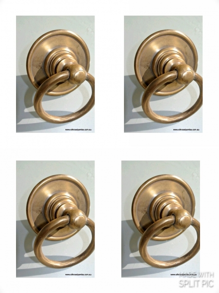 "4 medium round handle ring pull 7.5 cm solid brass heavy old vintage asian style DOOR 3"" bronze patina heavy bolt fix (Copy)"