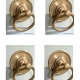 """4 medium round handle ring pull 7.5 cm solid brass heavy old vintage asian style DOOR 3"""" bronze patina heavy bolt fix (Copy)"""