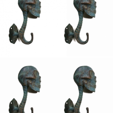 "4 medium antique green SKULL HOOKS BRASS old vintage style vintage 5"" long spine B (Copy)"