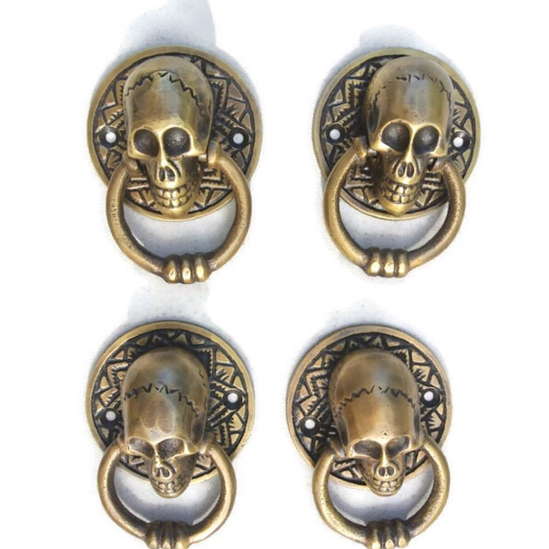 "heavy SKULL door KNOCKER head ring pull Handle pure brass 4/"" day dead polished B"