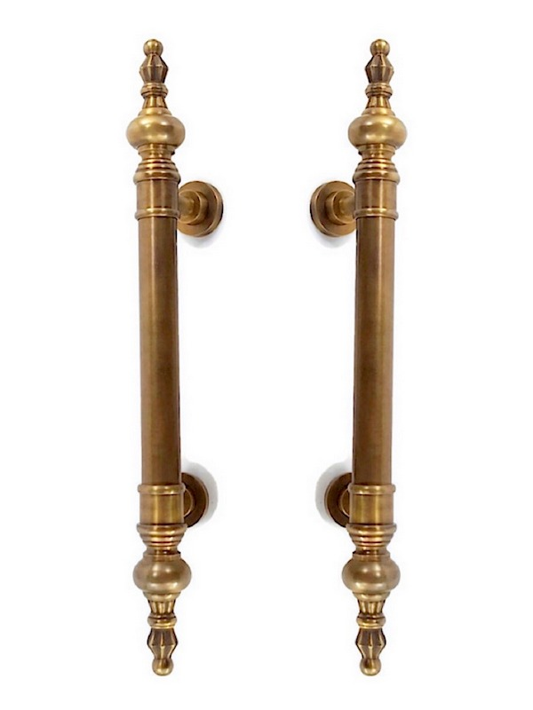 """large DOOR handle pulls solid SPUN hollow brass vintage aged old style 19 /"""" B"""