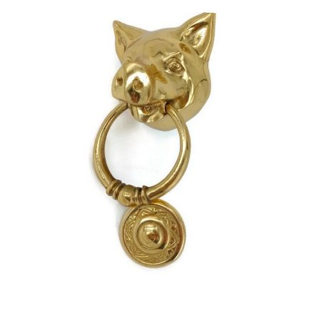 """Small 3"""" wide Solid heavy pure Brass POLISHED Door Knocker 6.1/4"""" long PIG Head ring pull in mouth Vintage Front Door Knocker Door Decor"""