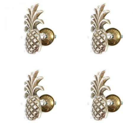 "4 small Pineapple handles aged solid pure 2.1/4"" Brass PULL knobs kitchens antiques 6 cm beach seaside vintage old antique SILVER green"