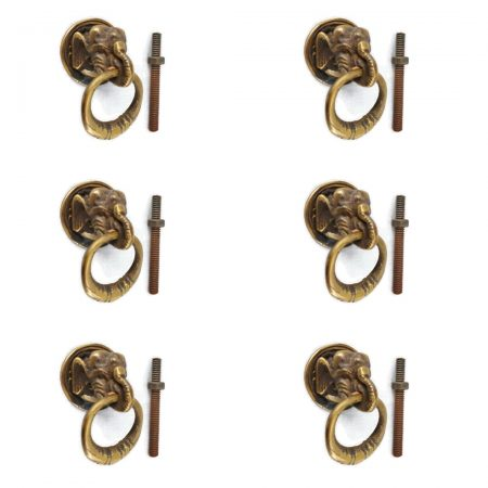 6 heavy ELEPHANT pulls handles antique solid brass vintage drawer knobs ring 2.1/4""