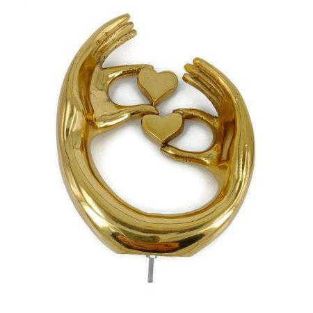 "small 5""HEART LOVE "" hands shape wedding statue sculpture solid brass polished bolt fix heavy"