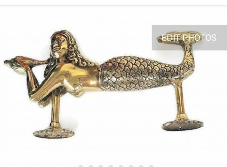 MERMAID door handle PULLS heavy solid heavy Brass statue 27cm shell antique POLISHED BRASS